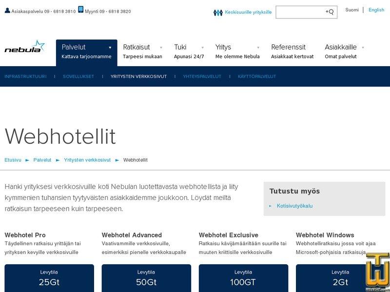 Screenshot of WordPress webhotel palveluna from nebula.fi