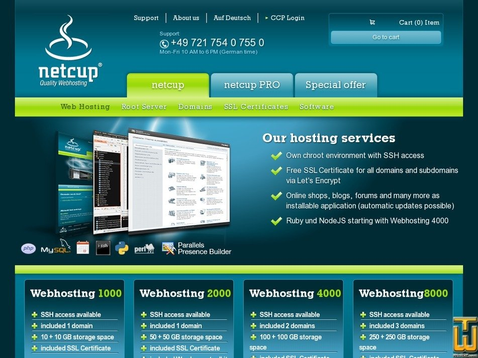 Screenshot of Webhosting 1000 from netcup.de
