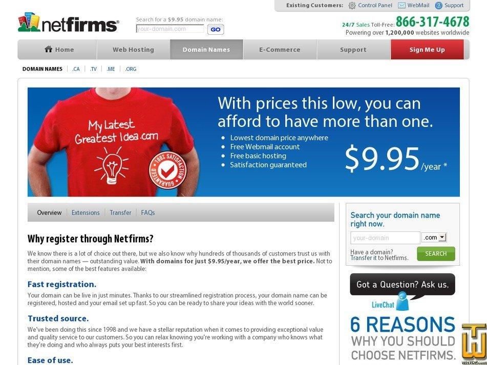 Screenshot of .com .net .org .info .ca .co.uk .us .name .biz from netfirms.com