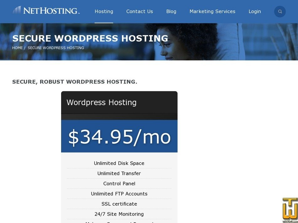 Screenshot of Wordpress Hosting from nethosting.com
