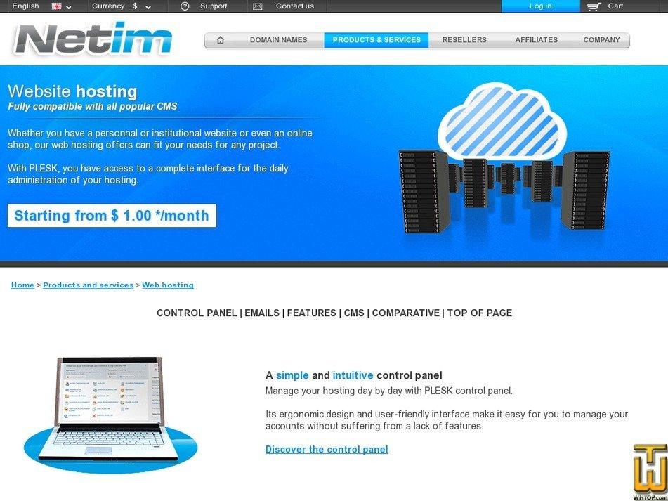 screenshot of Web Performance from netim.com