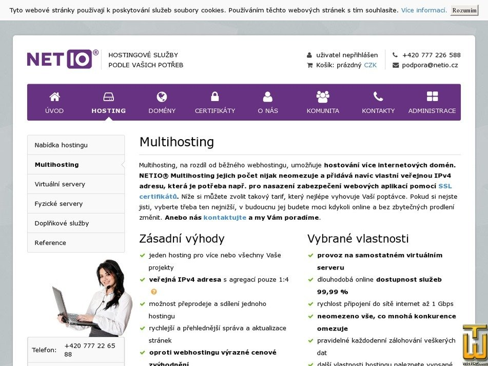screenshot of Multihosting NETIO® SSD Start from netio.cz