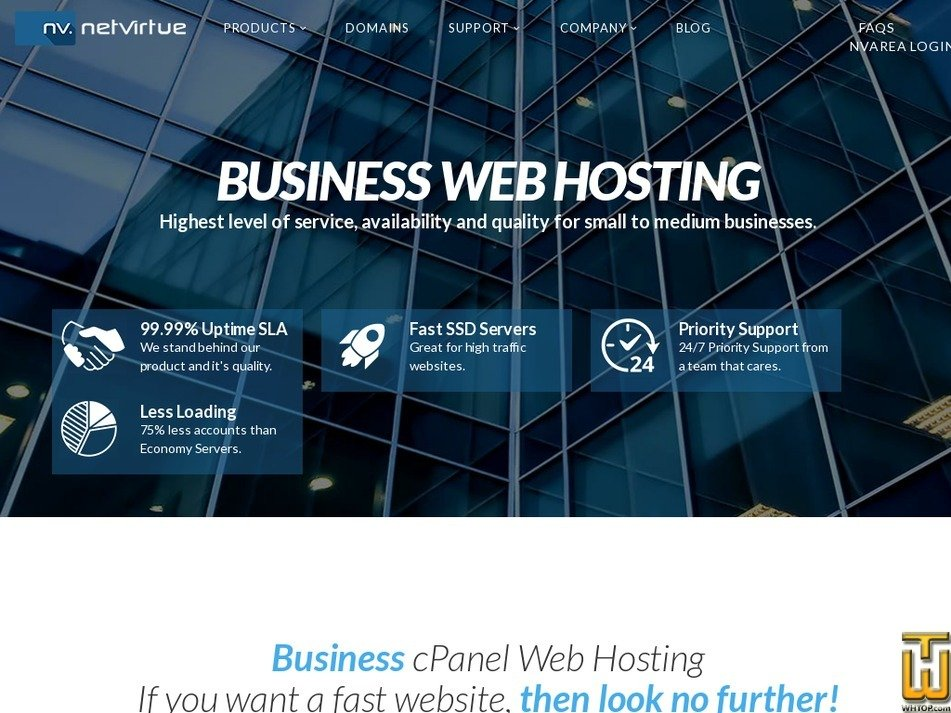 Screenshot of Enterprise LARGE BUSINESS from netvirtue.com.au