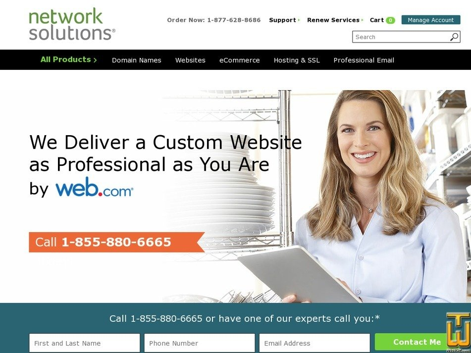 Screenshot of Custom Website from networksolutions.com