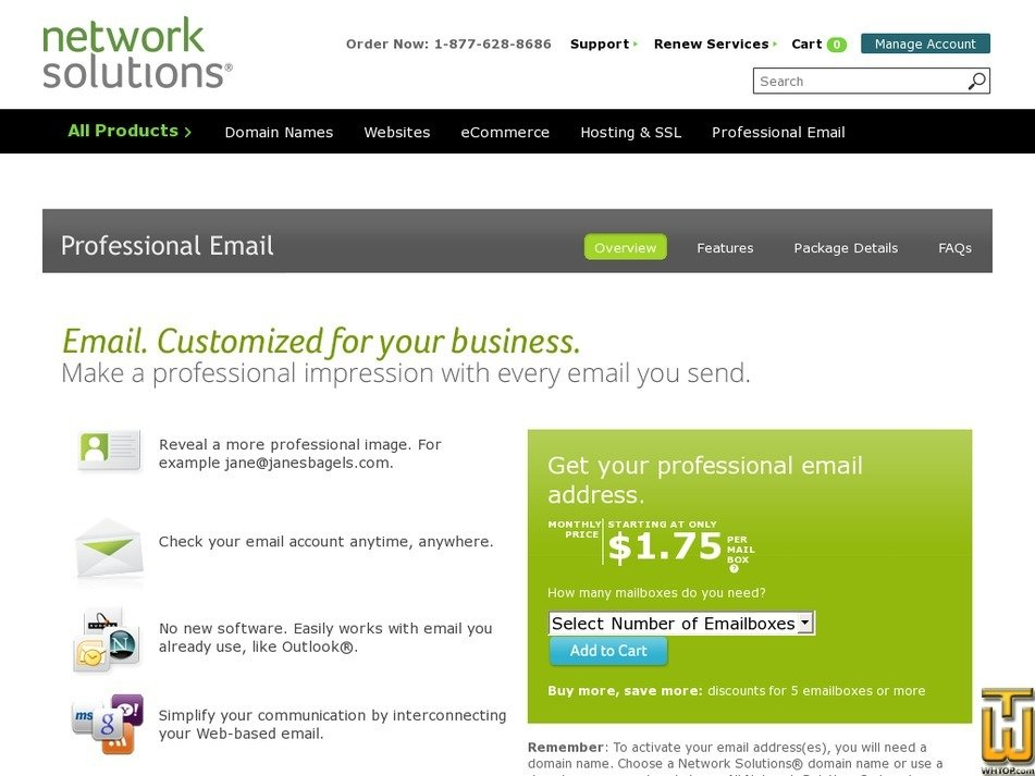Screenshot of Professional Email Plus from networksolutions.com