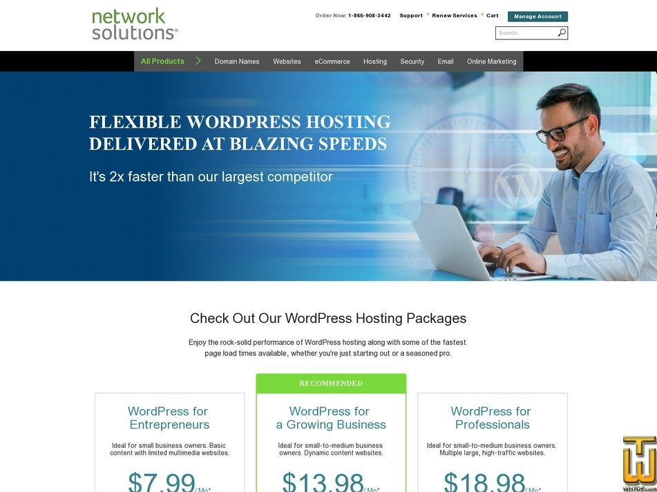 Screenshot of WordPress from networksolutions.com