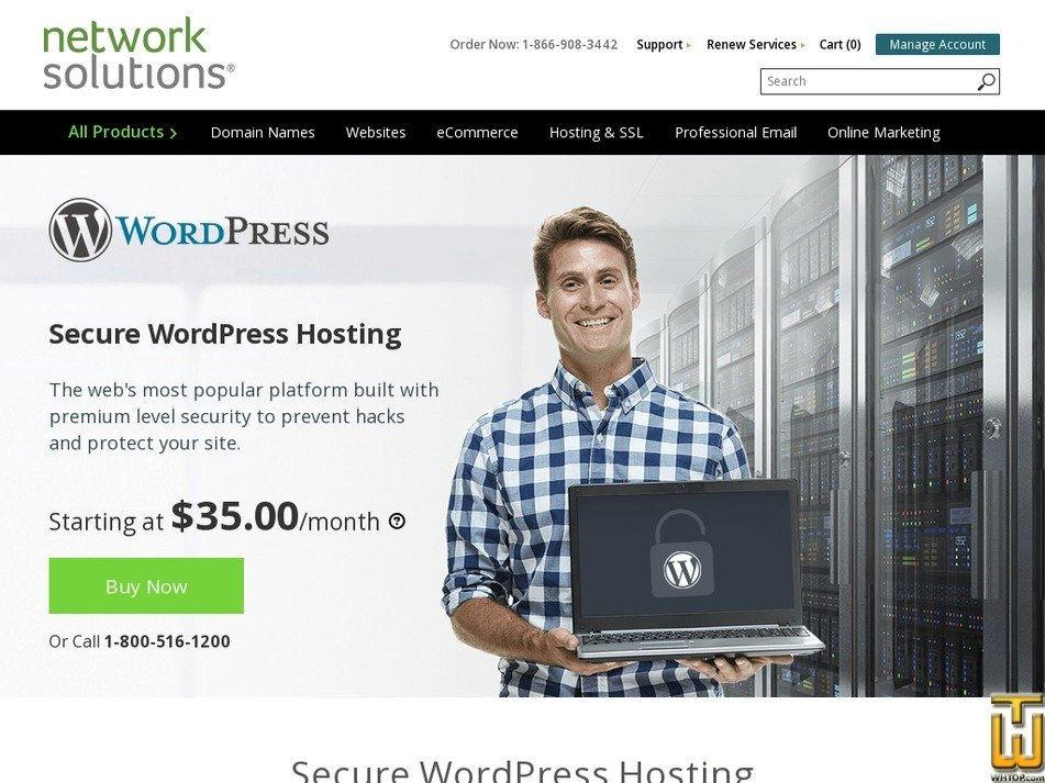 Screenshot of Secure WordPress from networksolutions.com