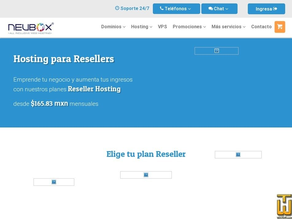 Screenshot of Plan de Reseller RS-V6 from neubox.com