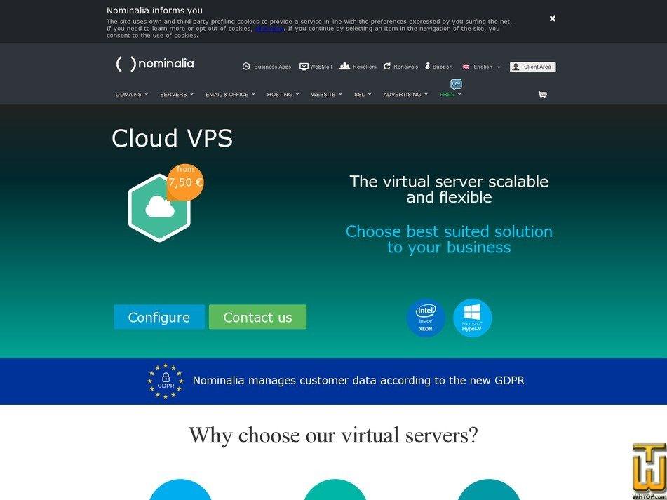 screenshot di Cloud VPS 1vCPU a partire dal nominalia.com