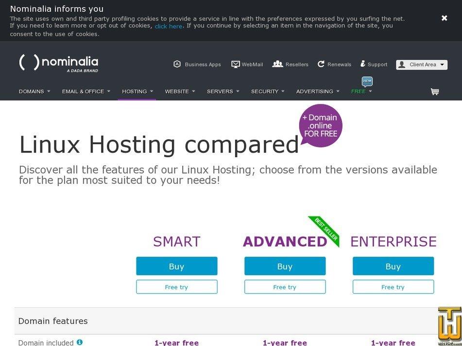 Screenshot of Advanced from nominalia.com