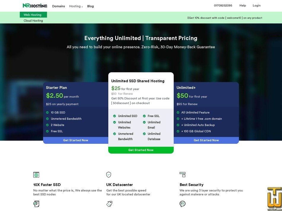 screenshot of Starter Plan from nrhosting.com
