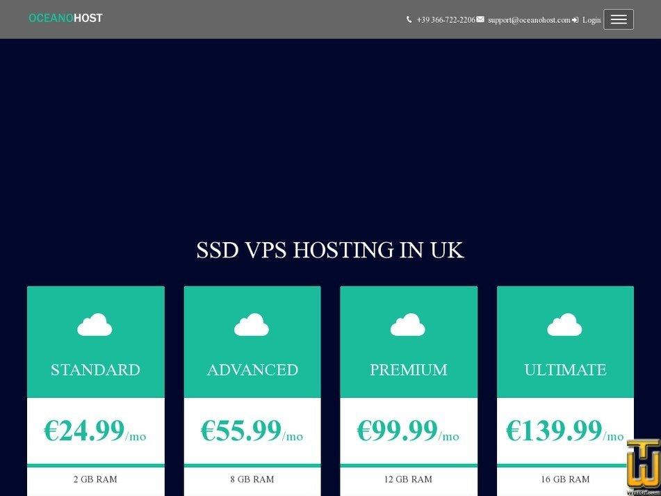 Screenshot of VPS UK ULTIMATE from oceanohost.com