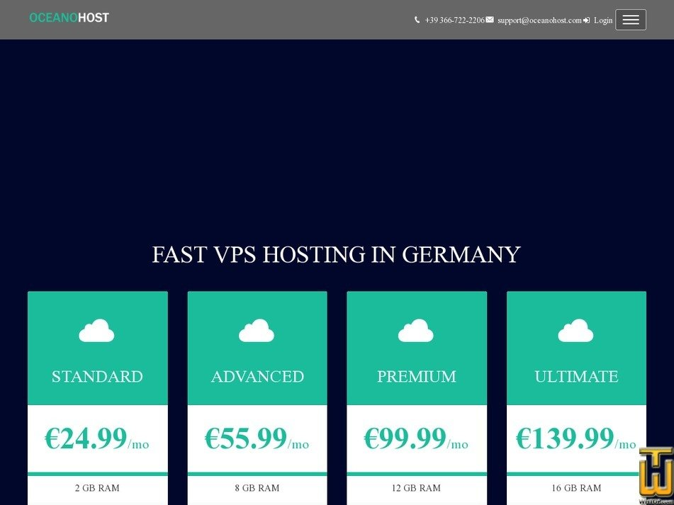 Screenshot of VPS Germany ULTIMATE from oceanohost.com