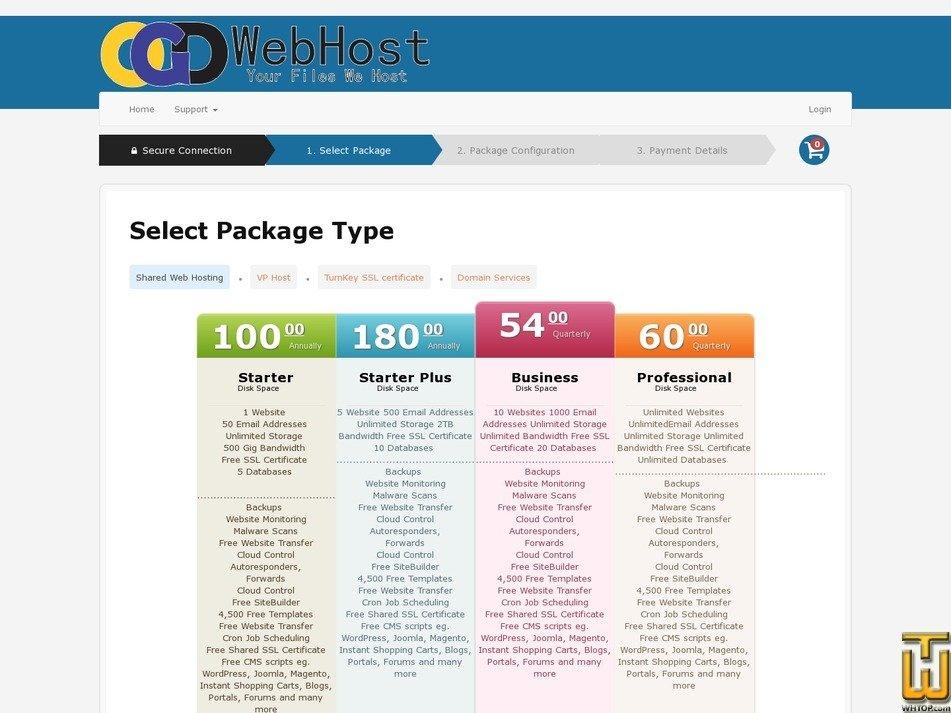 Screenshot of Starter Plan from ogdwebhost.com