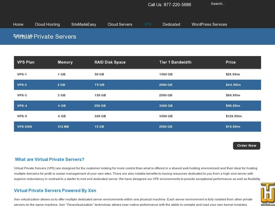 Screenshot of VPS-4 from olm.net