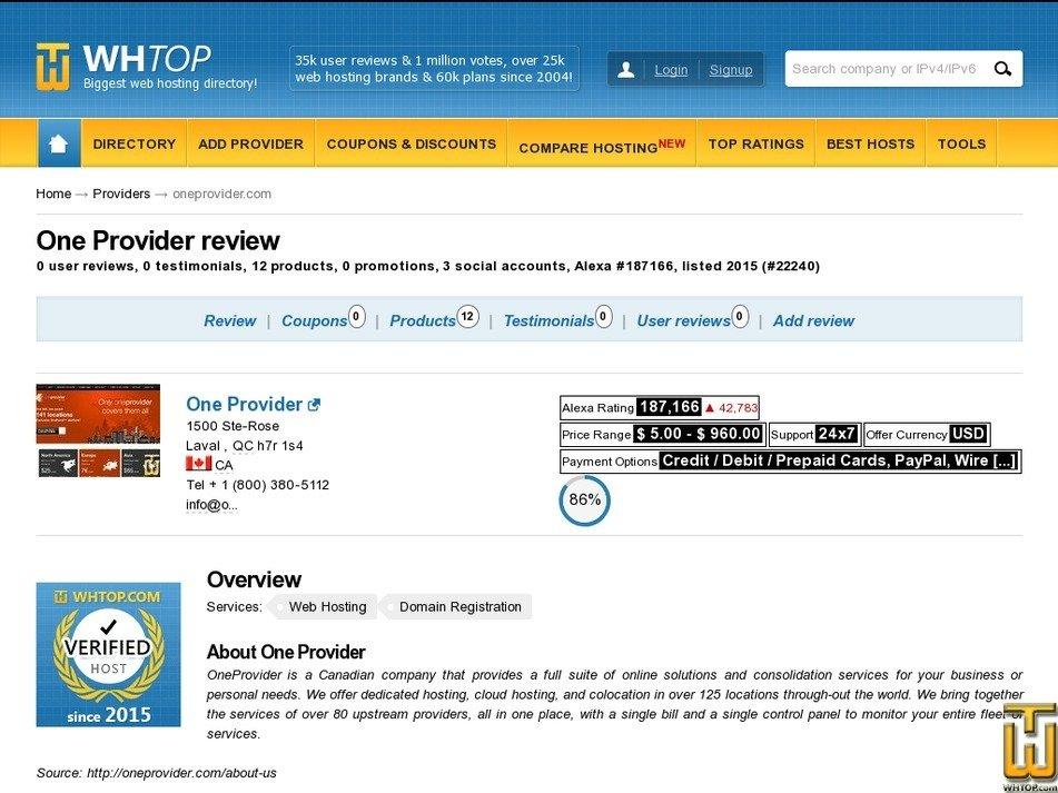 Screenshot of Colocation Form from oneprovider.com