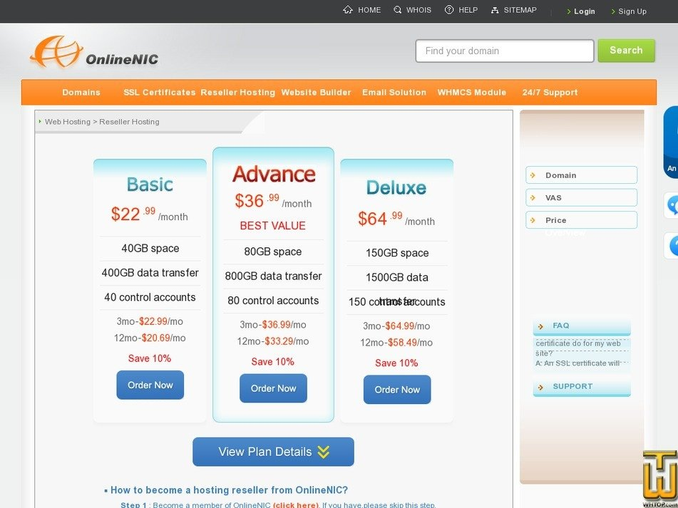 screenshot of Basic from onlinenic.com