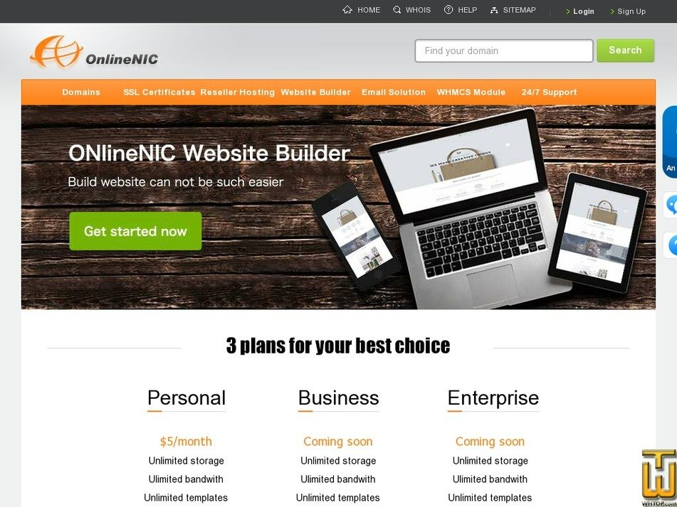 Screenshot of Business from onlinenic.com
