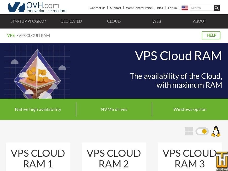 Screenshot of SP-120 from ovh.com