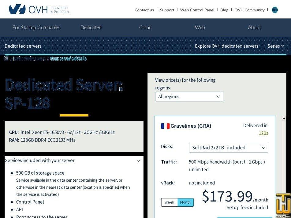 Screenshot of SP-128 from ovh.com
