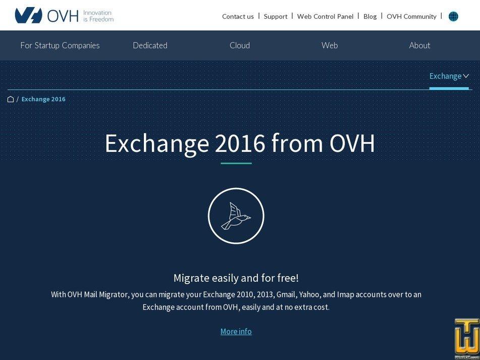 screenshot of Exchange 2016 from ovh.com