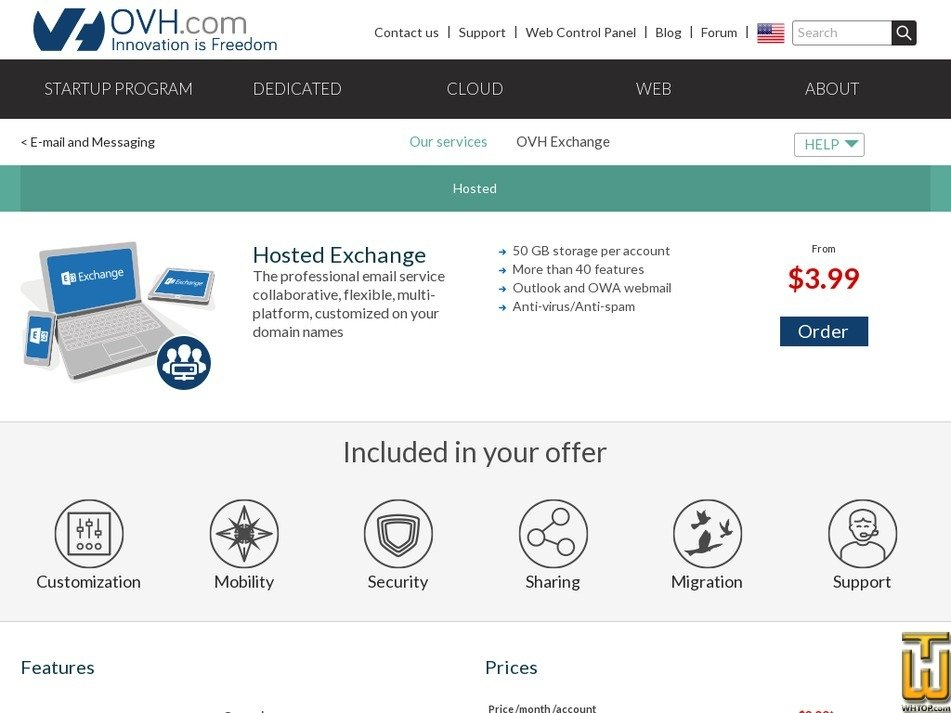 screenshot of Hosted Exchange from ovh.com