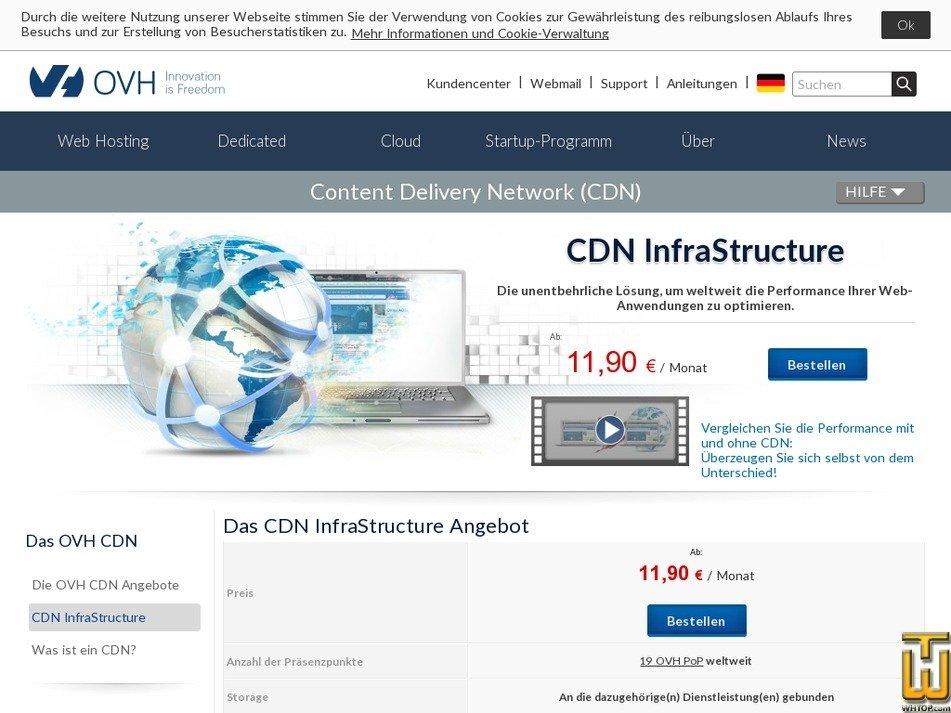 Screenshot of CDN InfraStructure from ovh.de