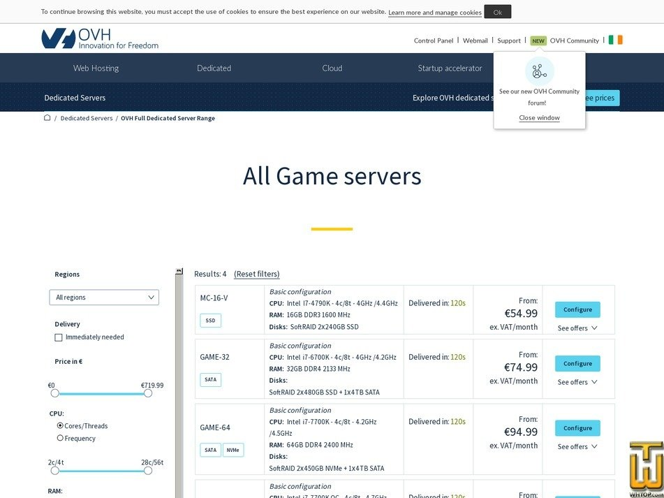Screenshot of VPS SSD 1 from ovh.ie