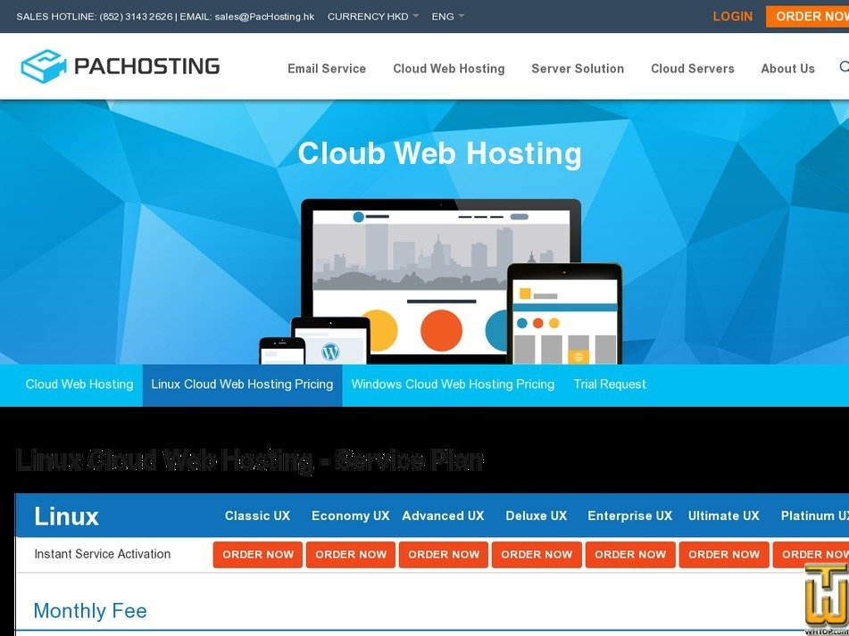 Screenshot of Linux Cloud Web Hosting from pachosting.hk