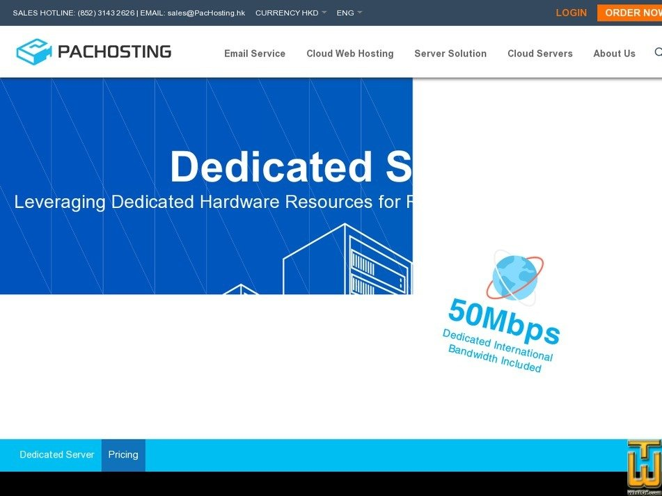 Screenshot of Dedicated Server from pachosting.hk