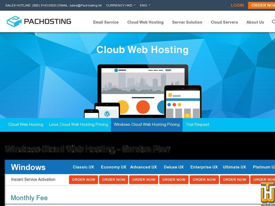 Screenshot of Windows Cloud Web Hosting from pachosting.hk