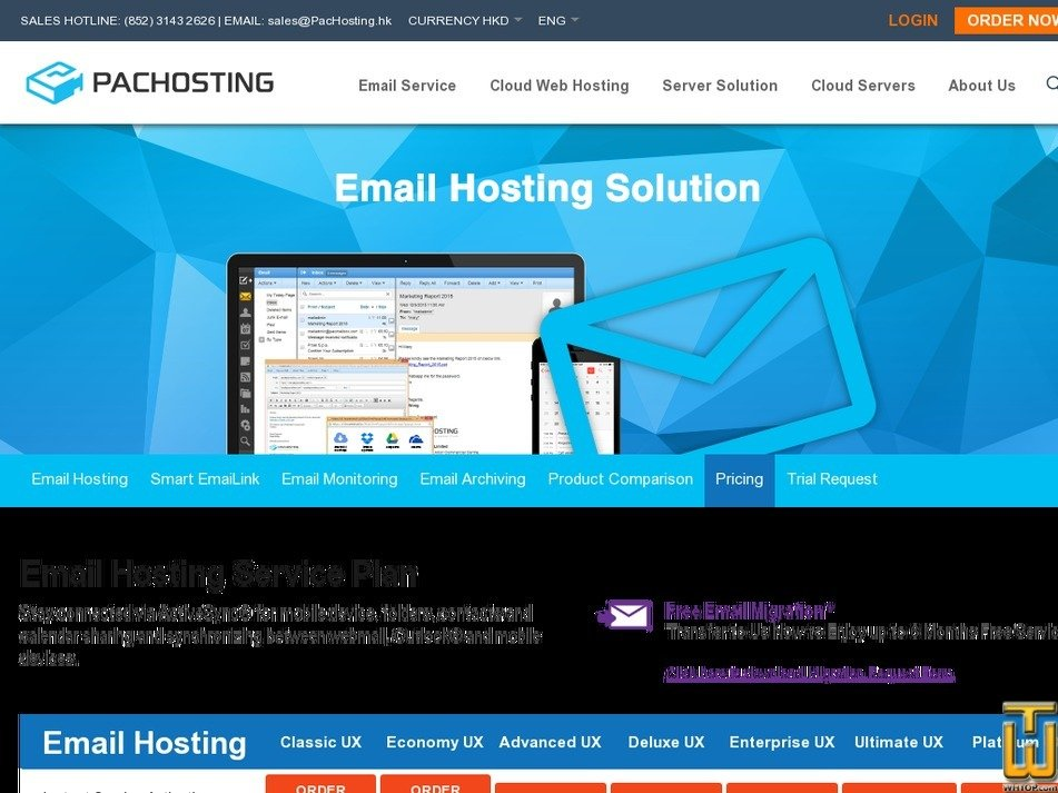 Screenshot of Email Hosting Service Plan from pachosting.hk