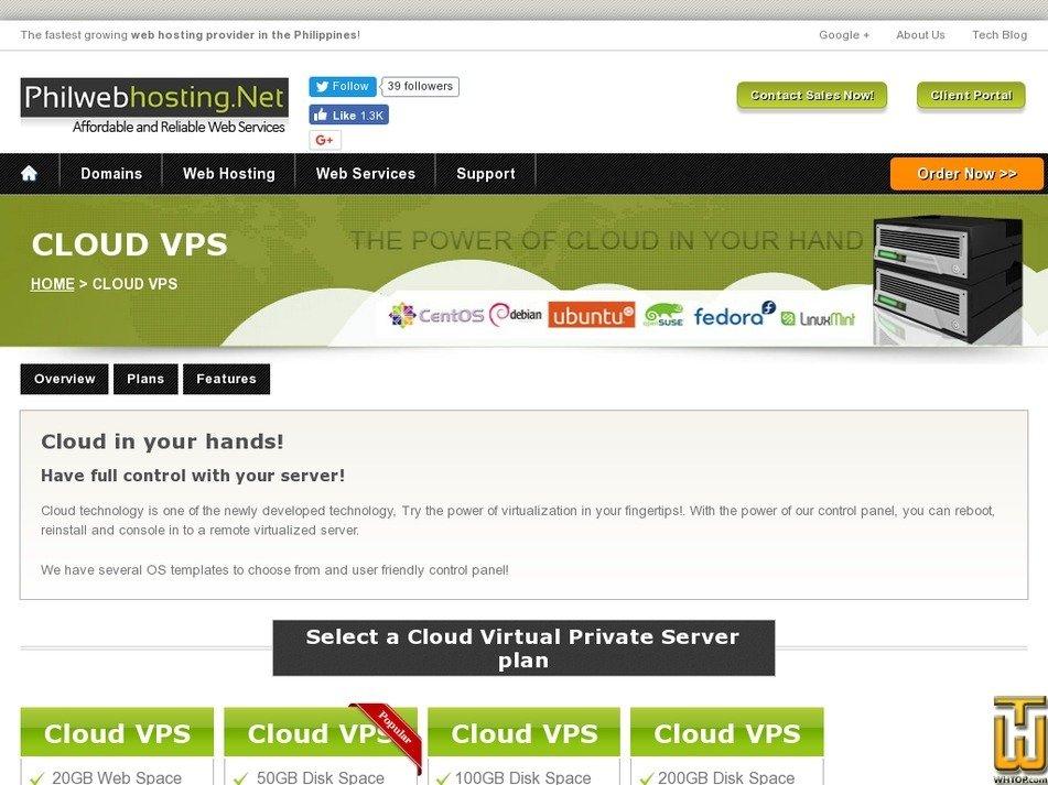 Screenshot of Cloud VPS Starter from philwebhosting.net