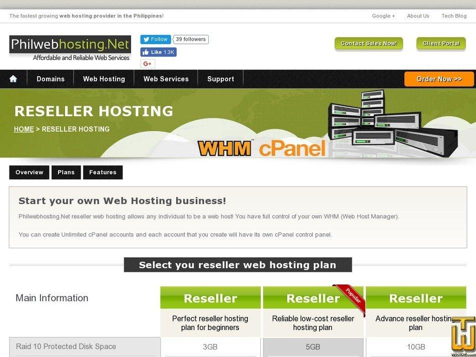 Screenshot of Reseller Basic from philwebhosting.net