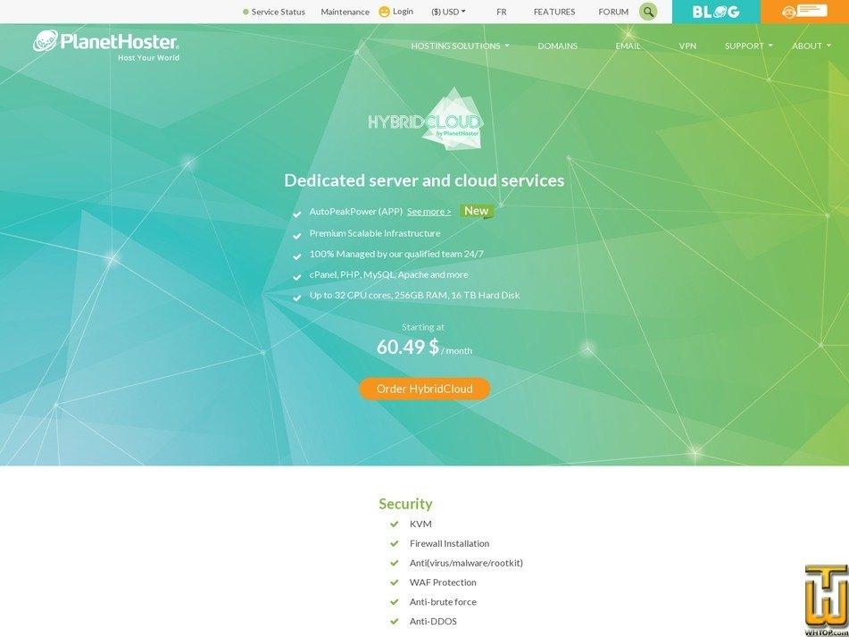 screenshot di 8 GB RAM 80 GB a partire dal planethoster.com