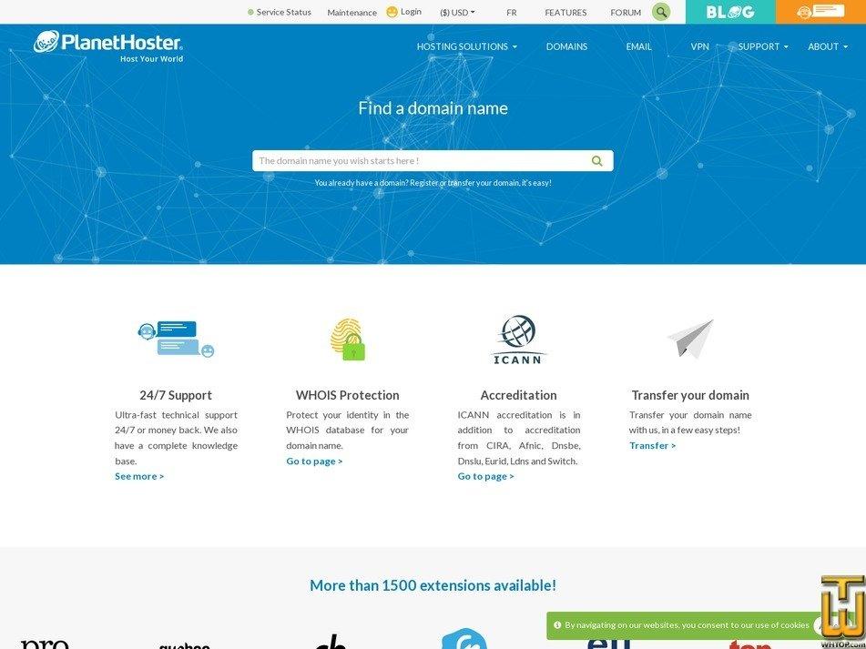 Screenshot of .com from planethoster.com