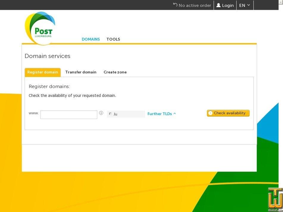 Screenshot of .com .net .info .org .de from post.lu