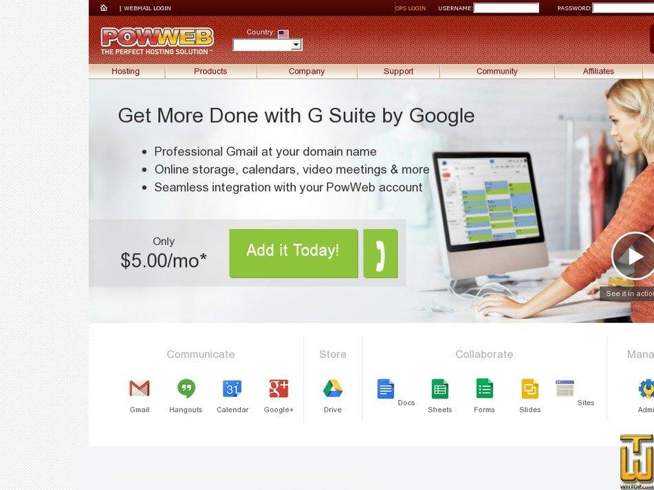 Screenshot of G SUITE from powweb.com