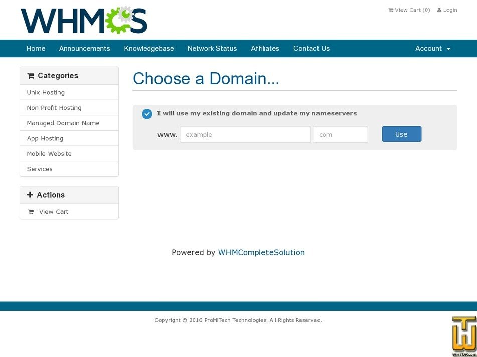 Screenshot of Personal Hosting from promitech.com