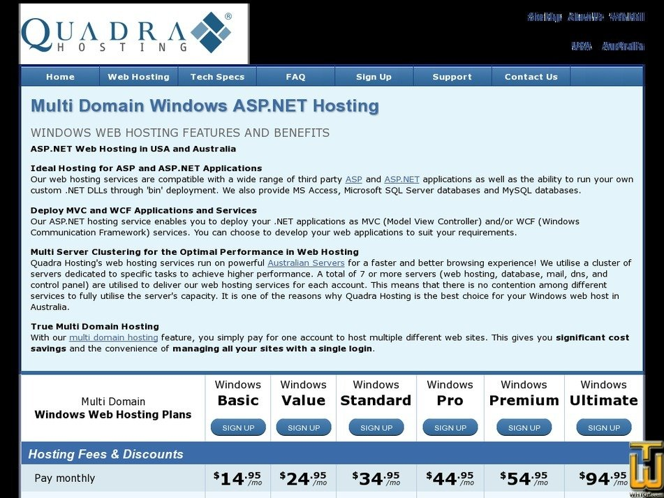 Screenshot of Windows Basic from quadrahosting.com.au