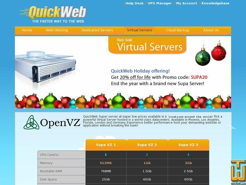 Screenshot of Supa VZ Plans (Germany/Phoenix/London/Florida/Los Angeles) from quickweb.co.nz