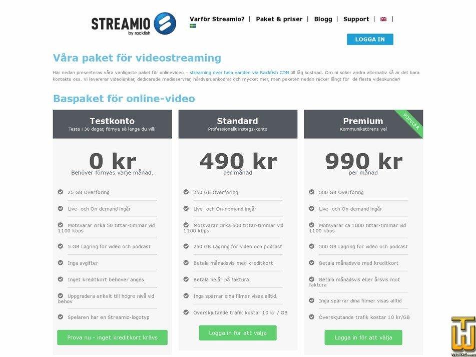 screenshot of Streamio OVP - Online Video Platform from rackfish.com