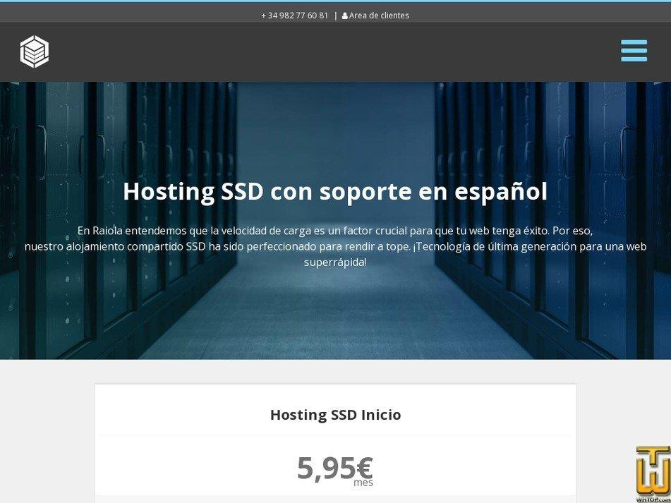screenshot of Hosting Inicio from raiolanetworks.es