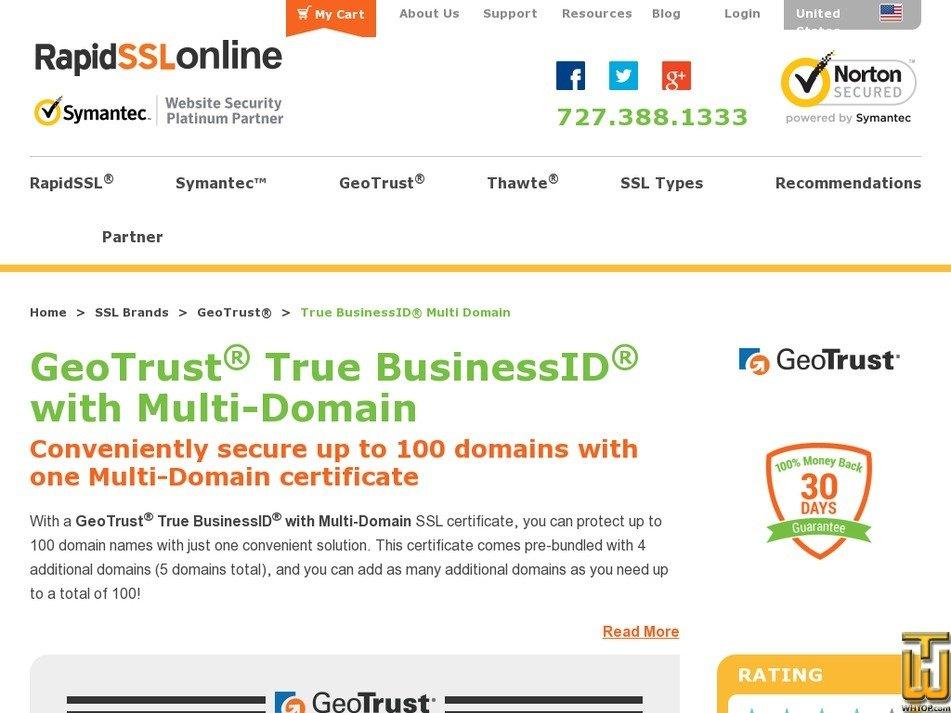 Screenshot of GeoTrust True BusinessID Multi Domain SSL for 1 Year from rapidsslonline.com