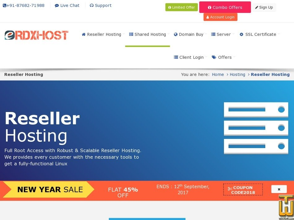 Screenshot of Master Reseller from rdxhost.info