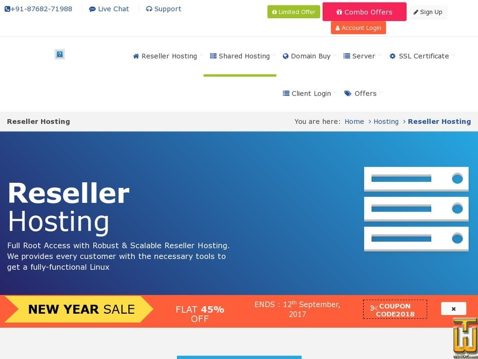 Screenshot of Reseller hosting from rdxhost.info