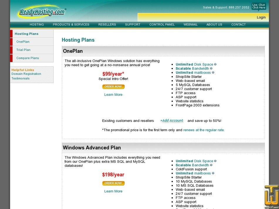Screenshot of OnePlan from readyhosting.com
