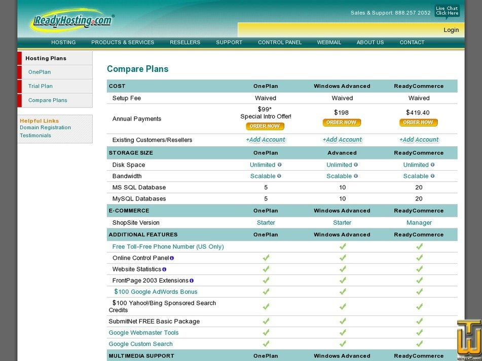 Screenshot of Advanced Plan from readyhosting.com