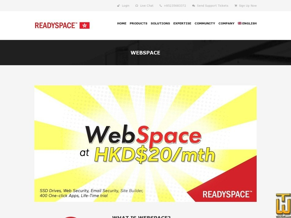 screenshot of WebSpace Basic from readyspace.com.hk