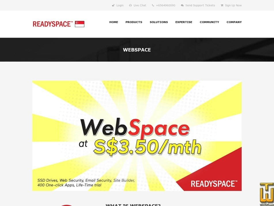screenshot of WebSpace Basic from readyspace.com.sg